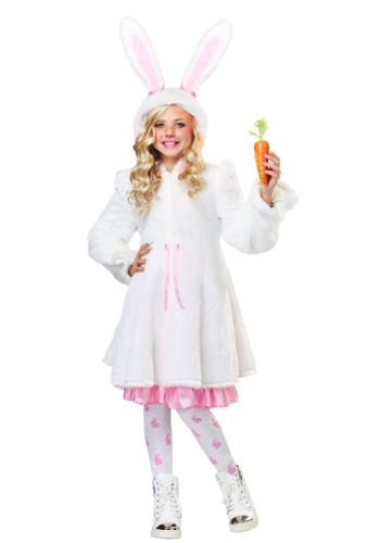 Girl's Fuzzy White Rabbit Costume
