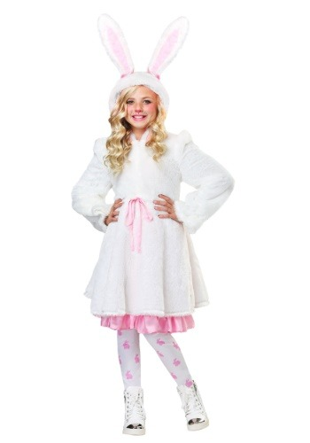 Click Here to buy Fuzzy White Rabbit Girls Costume from HalloweenCostumes, CDN Funds