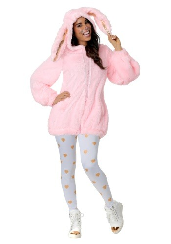 Womens Fuzzy Pink Bunny Costume