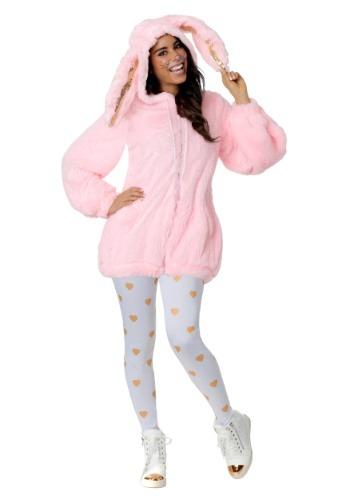 Women's Fuzzy Pink Bunny Costume-update1