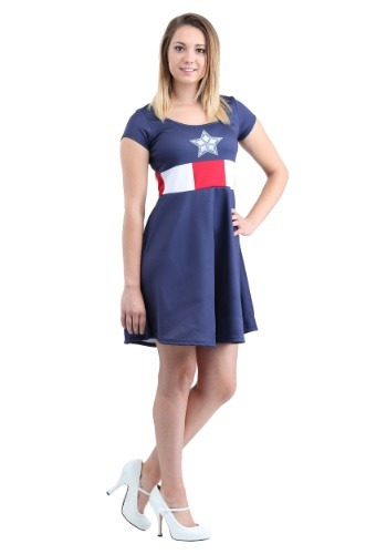 Click Here to buy Captain America Marvel Costume Dress for Women from HalloweenCostumes, CDN Funds