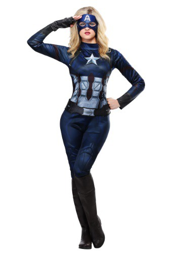 Click Here to buy Captain America Womens Costume from HalloweenCostumes, USA Funds & Shipping