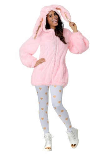 Plus Size Fuzzy Pink Bunny Costume for Women