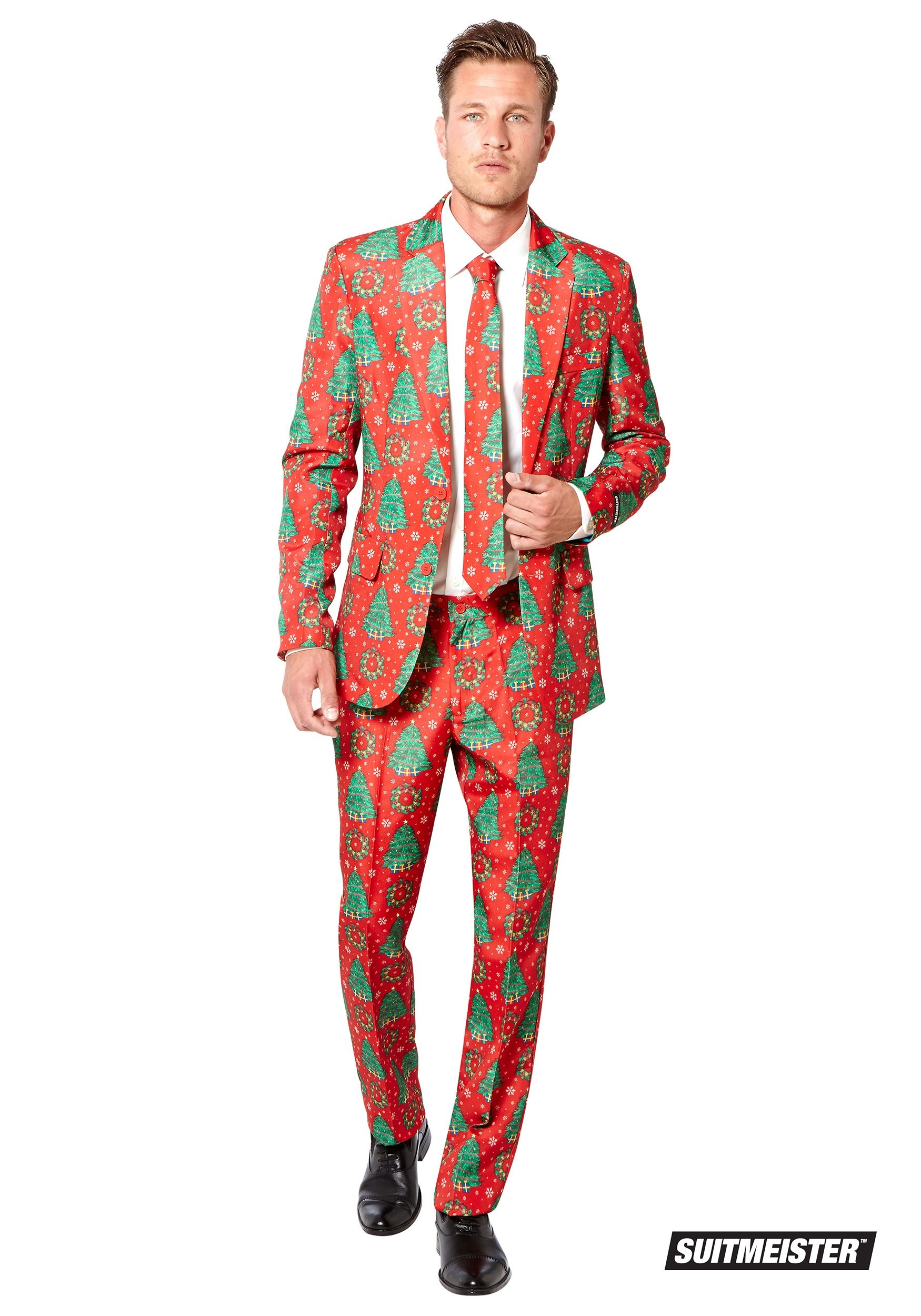 Christmas Suit.Men S Red Christmas Trees Suitmeister Suit