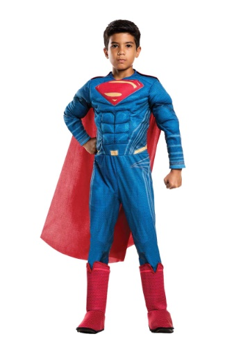 Click Here to buy Justice League Deluxe Superman Boys Costume from HalloweenCostumes, CDN Funds