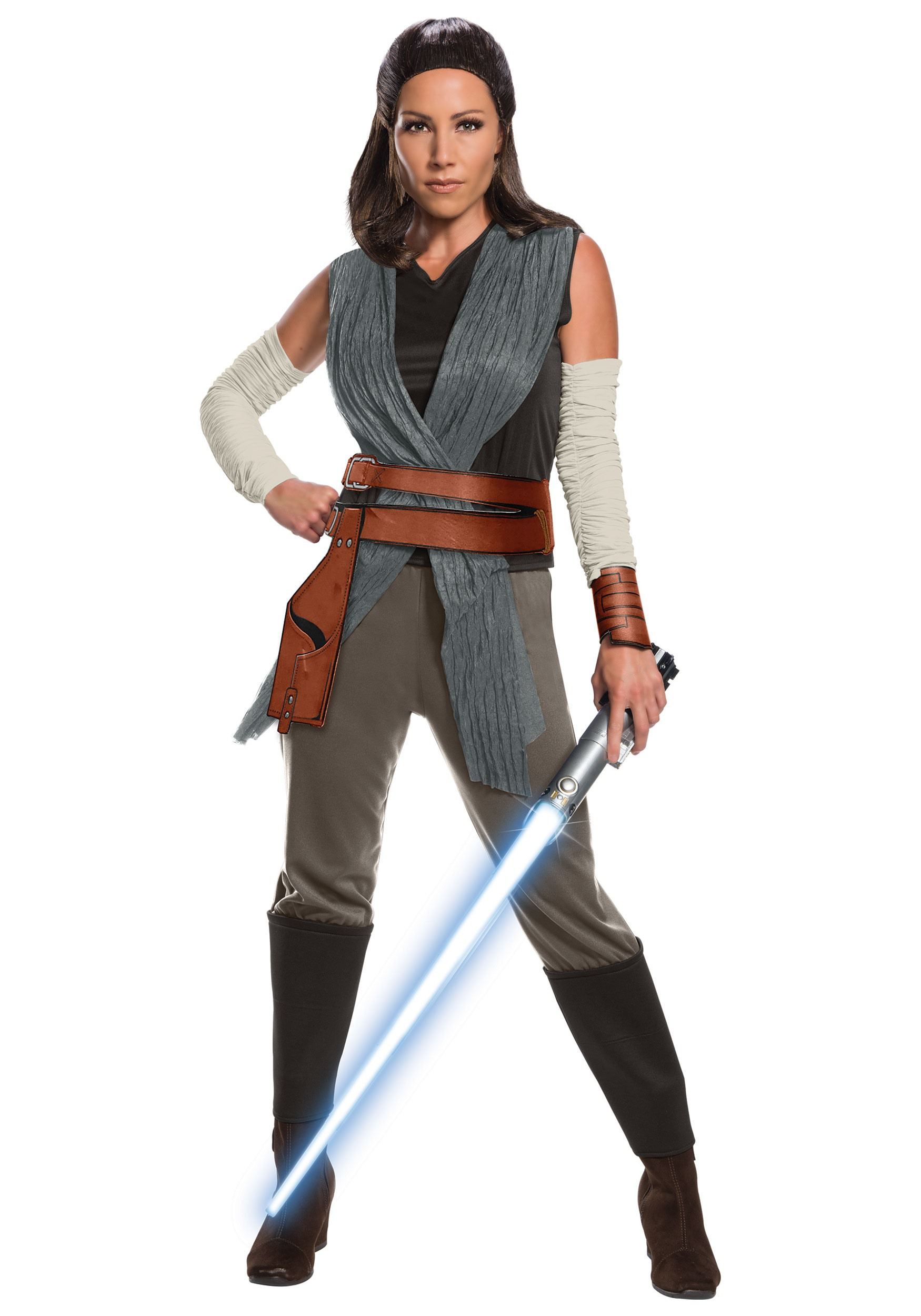 Star Wars The Last Jedi Deluxe Rey Adult Costume  sc 1 st  Halloween Costumes : female jedi costume  - Germanpascual.Com