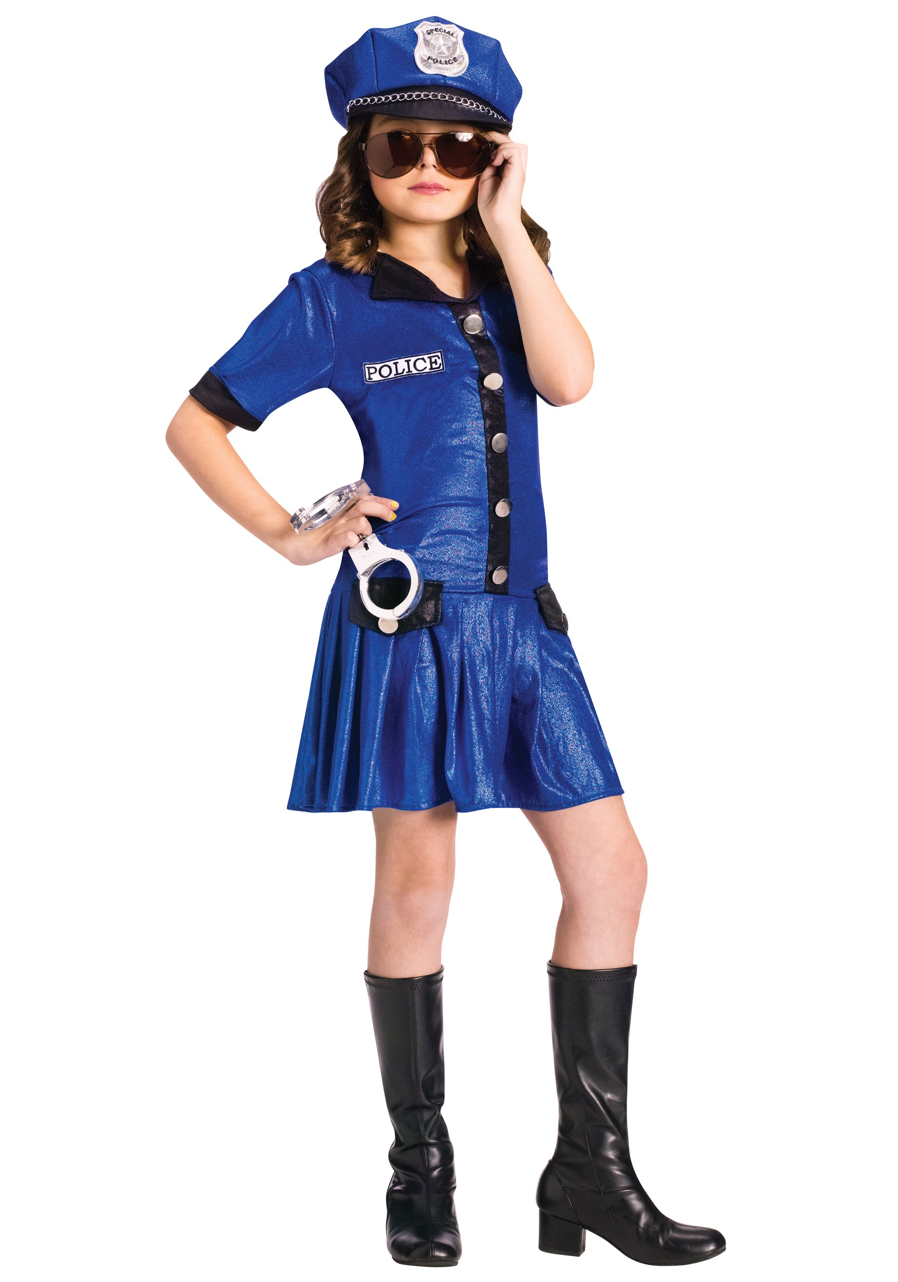 Girls blue police officer costume for Cool halloween costumes for kids girls