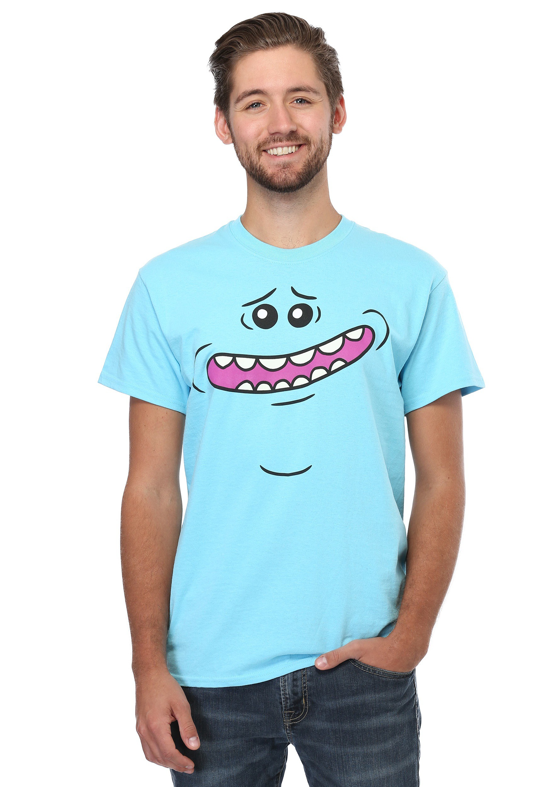 rick and morty meeseeks face t shirt for men