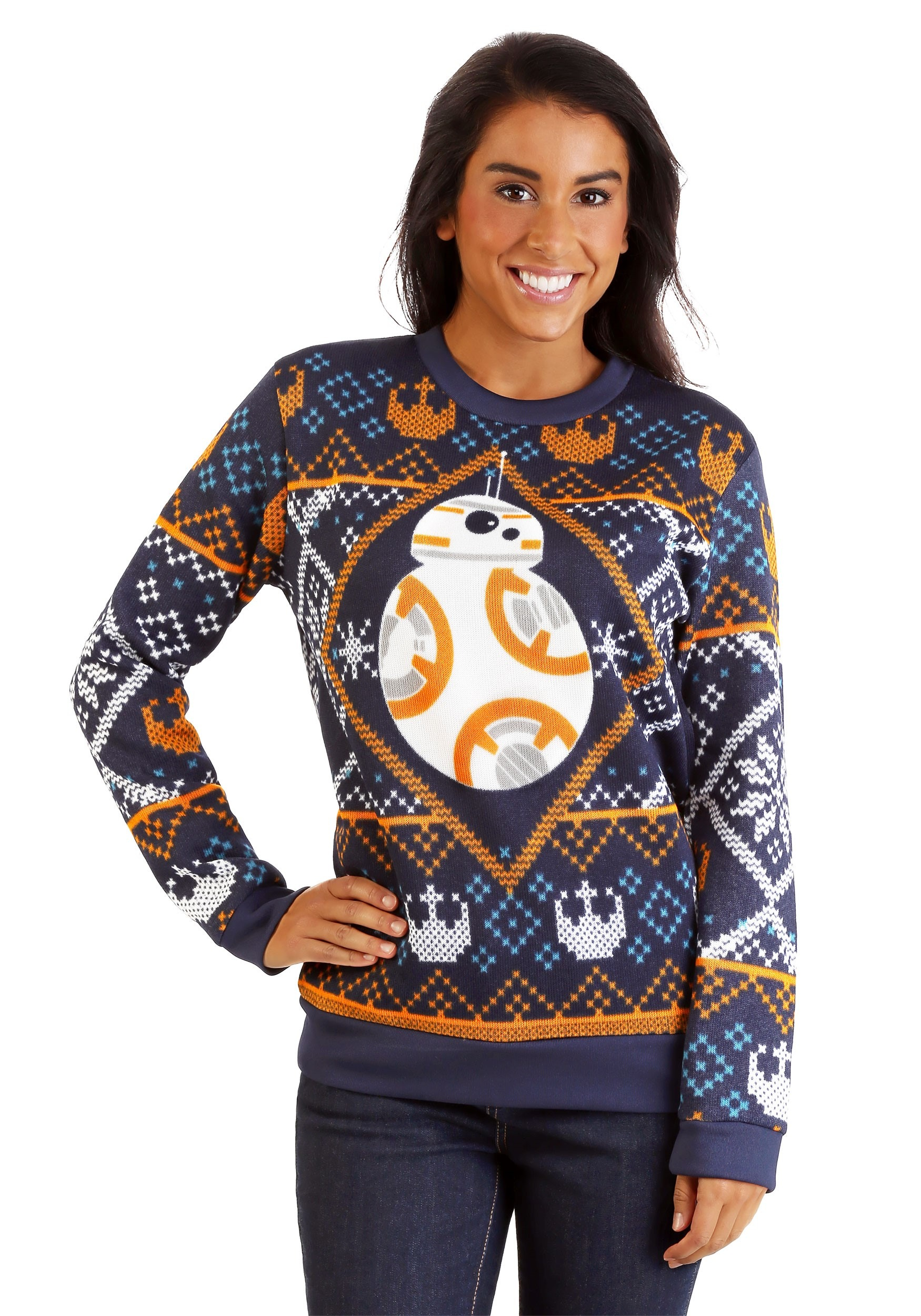 Ugliest Christmas Sweater.Star Wars Bb8 Navy Ugly Christmas Sweater