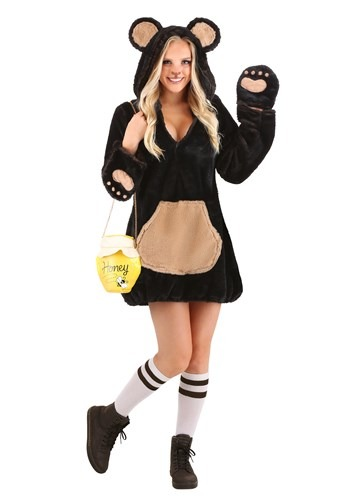 Women's Cozy Brown Bear Costume new