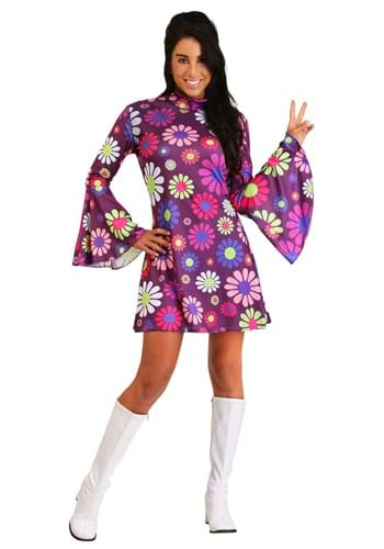 Women's Adult Groovy Flower Power Costume