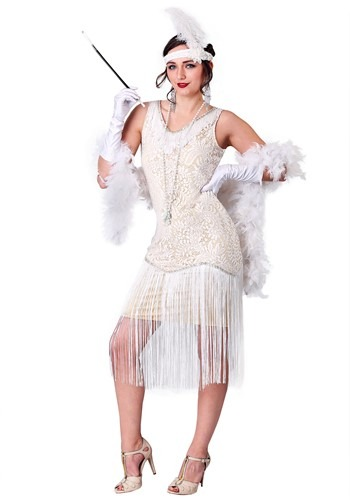 Women's White Fringe Flapper Costume