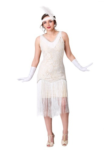 Women's White Fringe Flapper outfit