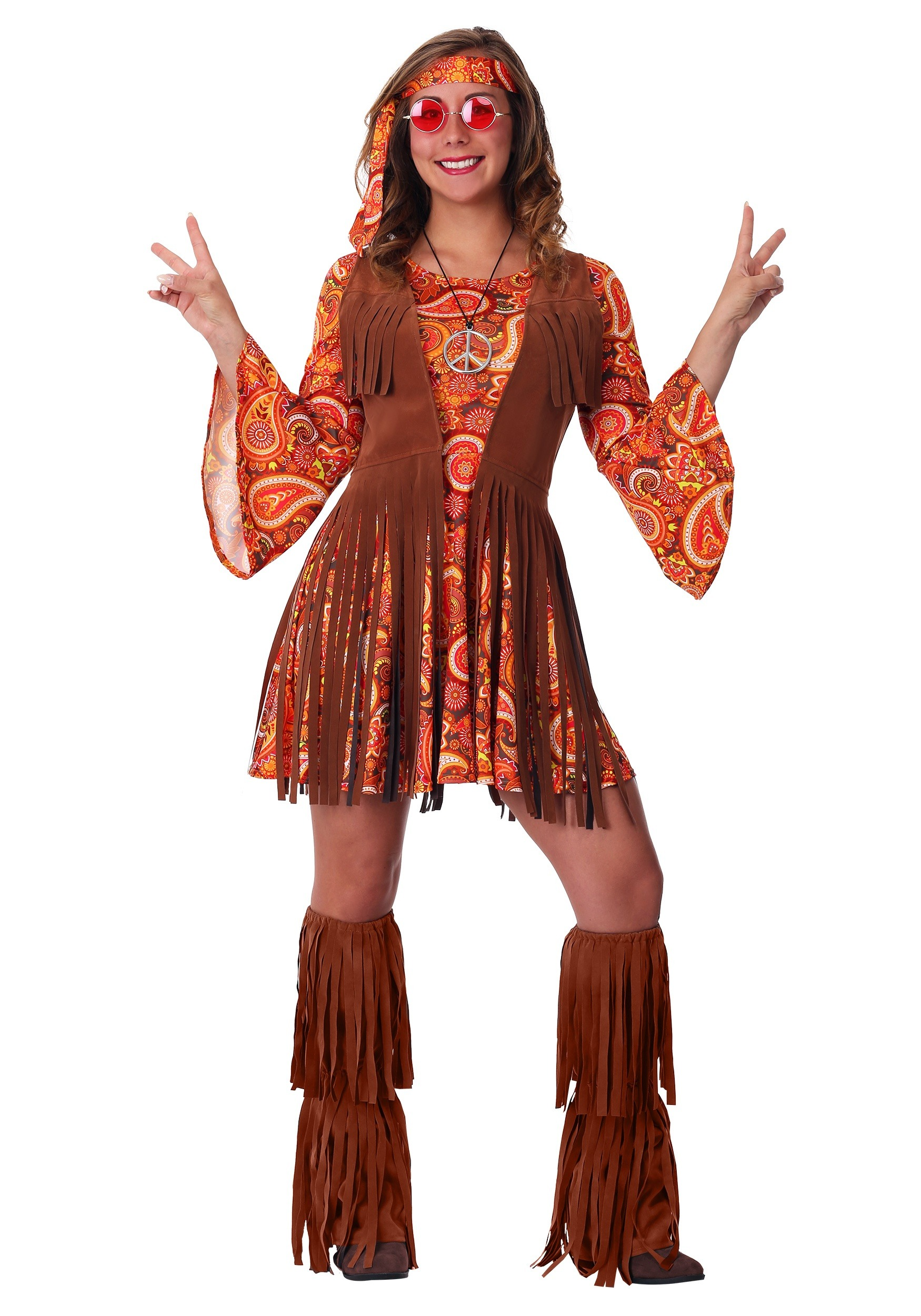 Ladies Brown Hippie Fringed Cowboy Vest Hippy 60s Fancy Dress Costume