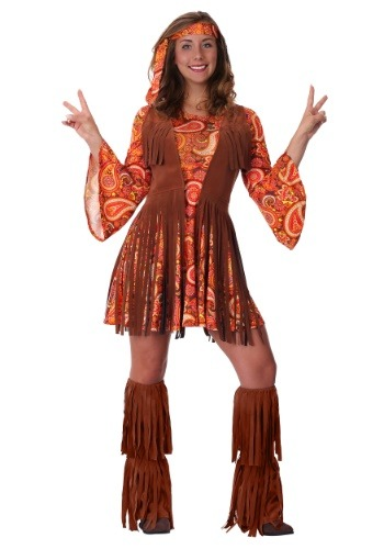 Click Here to buy Womens Plus Size Fringe Hippie Costume 1X 2X from HalloweenCostumes, CDN Funds