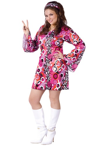 Click Here to buy Plus Size Feelin Groovy Dress from HalloweenCostumes, USA Funds & Shipping