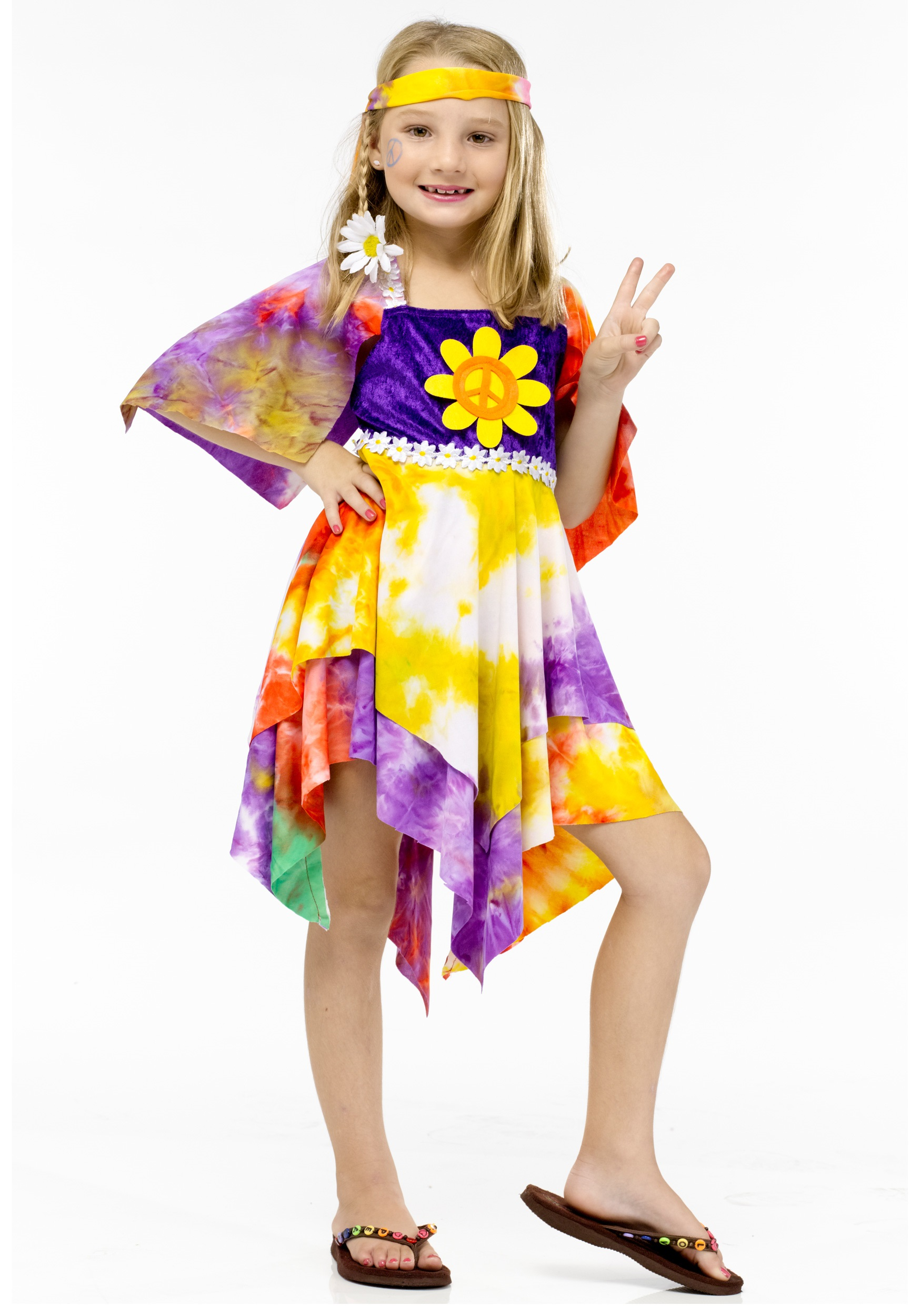 Girls daisy hippie costume for Cool halloween costumes for kids girls
