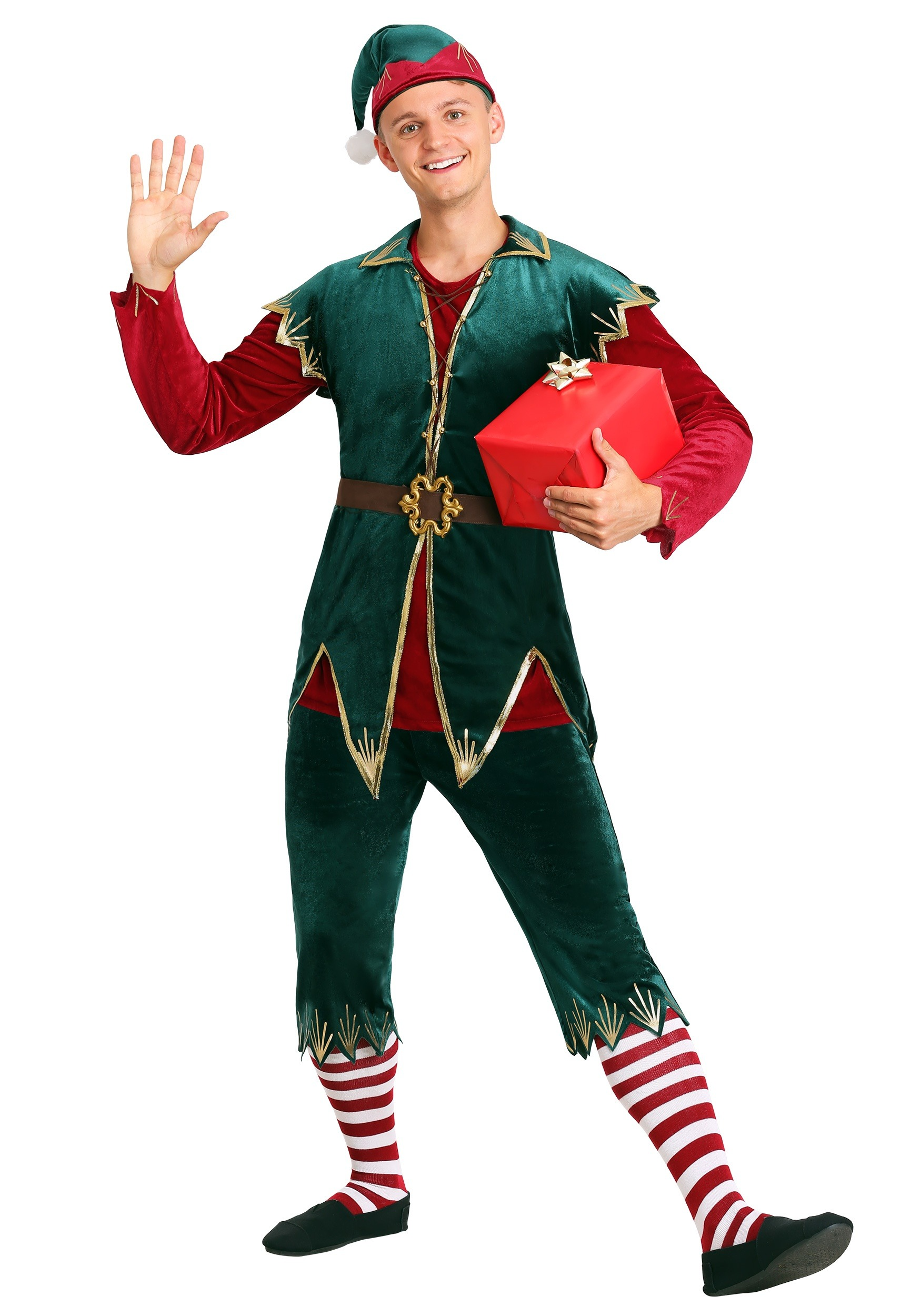 Christmas Elf Costume.Men S Deluxe Holiday Elf Costume