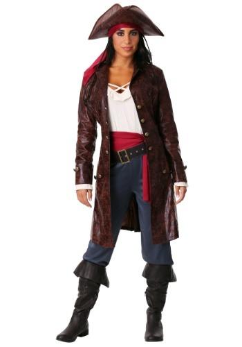 Womens Plus Size Pretty Pirate Captain Costume