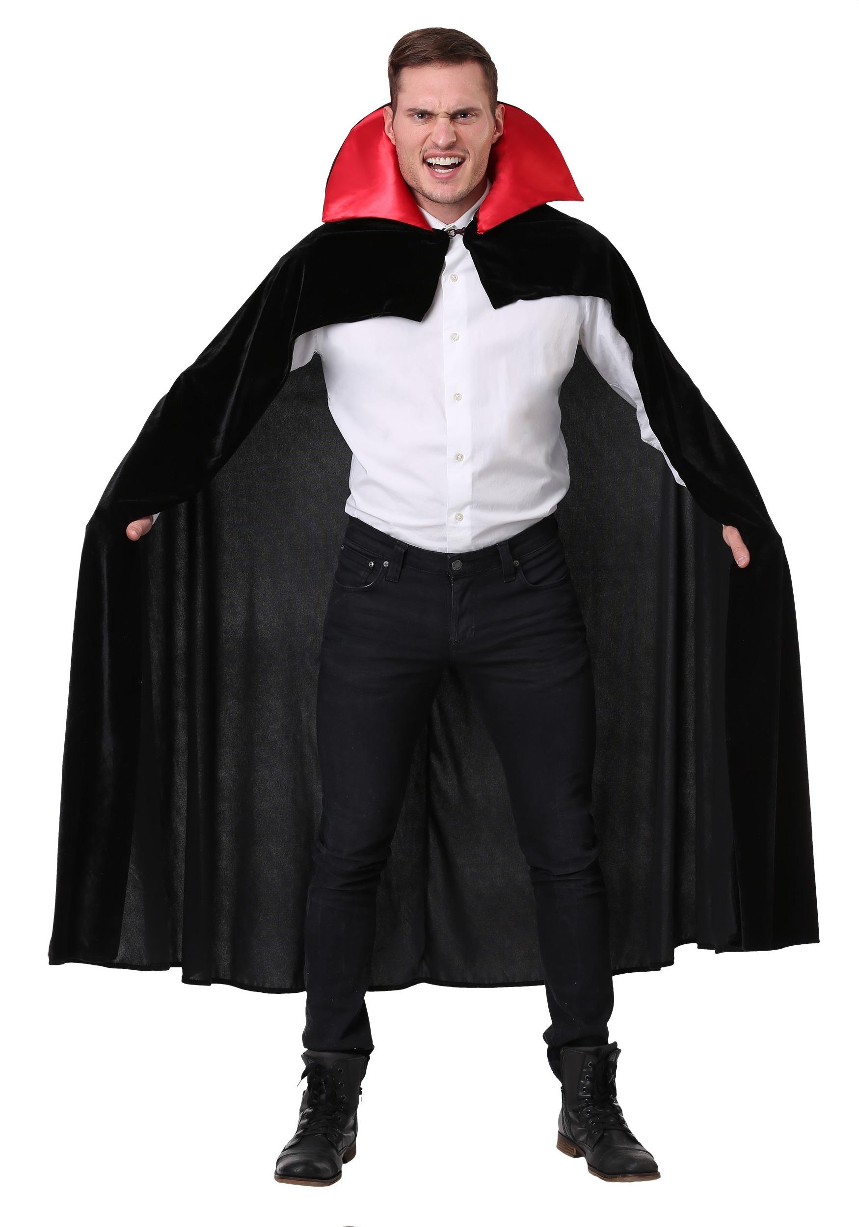 Deluxe red Hooded Cloak Cape Long Dracula Vampire  Capes Coats /& Cloaks