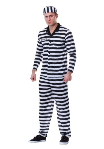 Mens Plus Size Deluxe Button Down Jailbird Costume