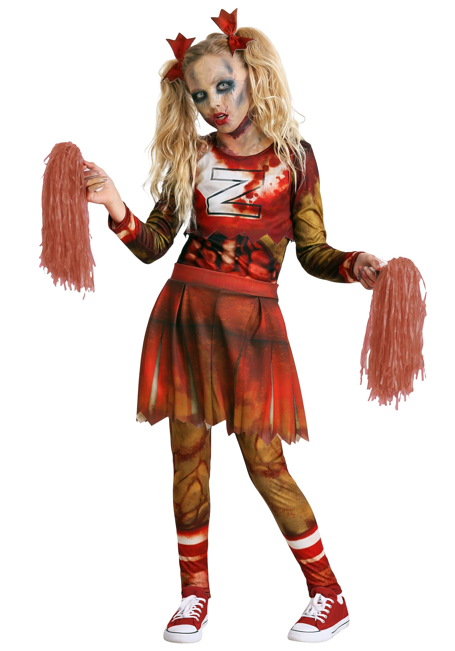 ZOMBIE CHEERLEADER HALLOWEEN OUTFIT WITH TIGHTS AND BLOOD