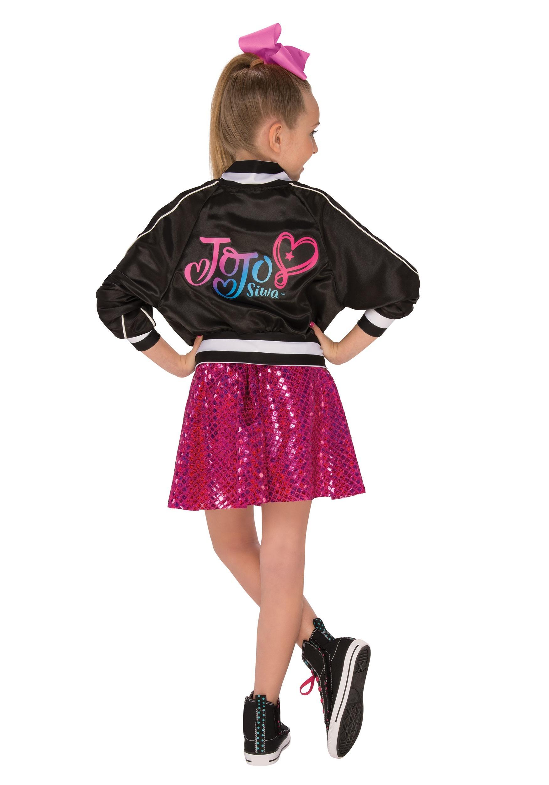 Toddler Kids Girls Jojo Siwa Halloween Costume Cropped Biker Jacket Rainbow