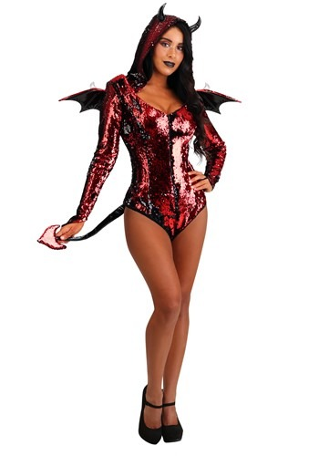 Womens Sequined Devil Costume