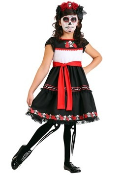 Sassy Sugar Skull Costume Girls