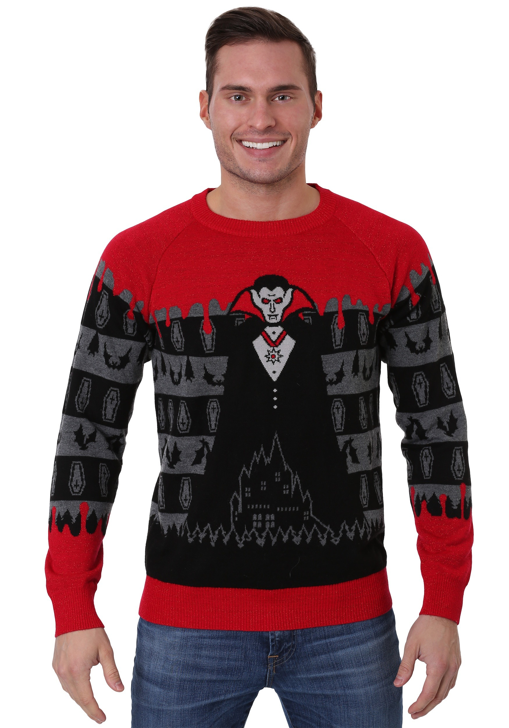 fb9c0ad94 Dracula Vampire Halloween Sweater for Adults