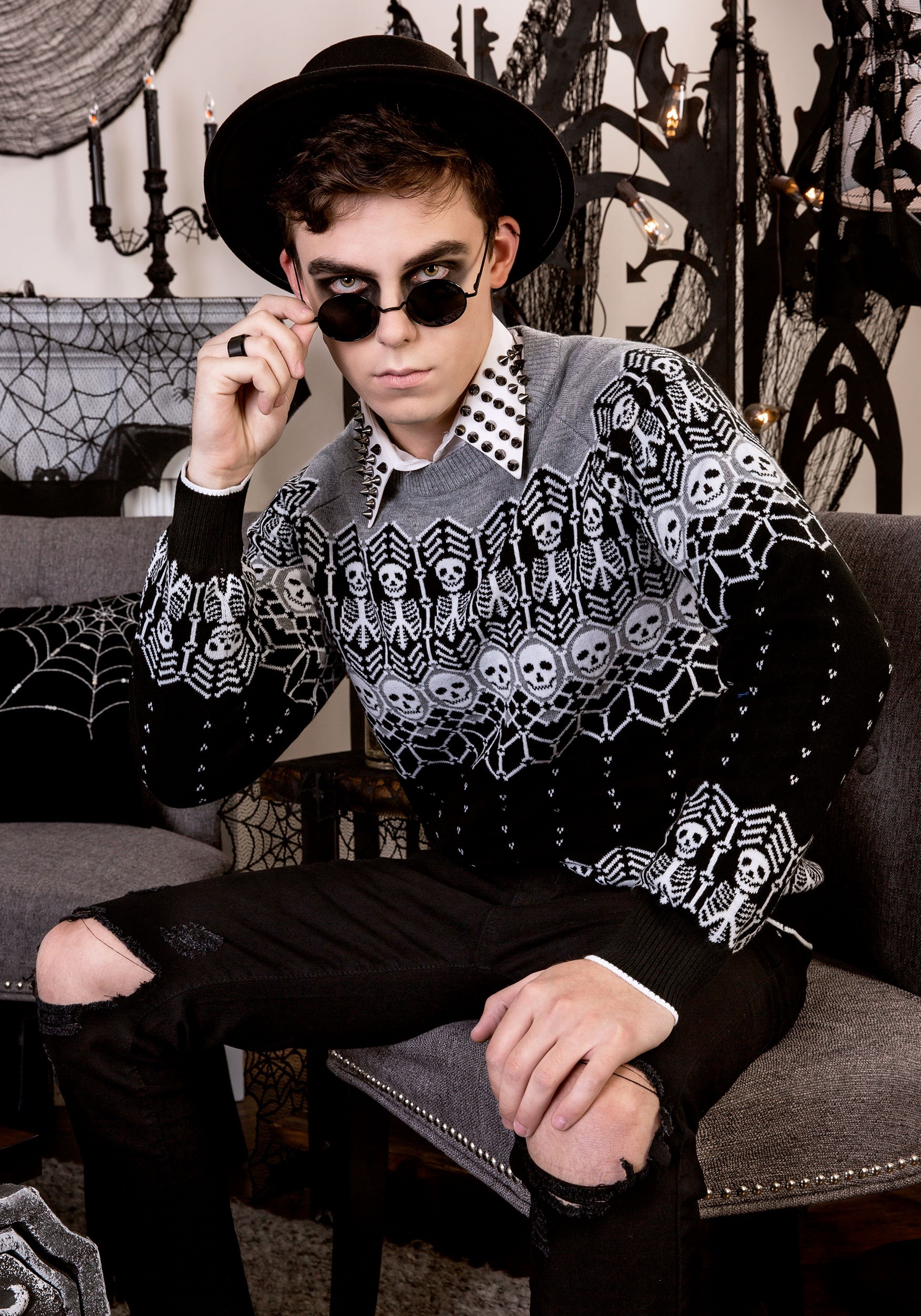 329925ee30e Black and White Skeleton Adult Ugly Halloween Sweater update