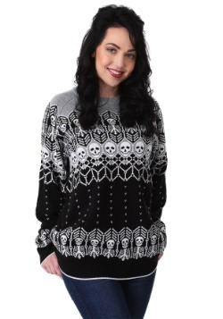 Black and White Skeleton Adult Ugly Halloween Sweater update