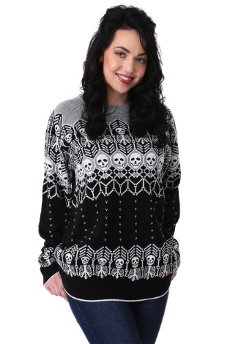 Black and White Skeleton Adult Halloween Sweater