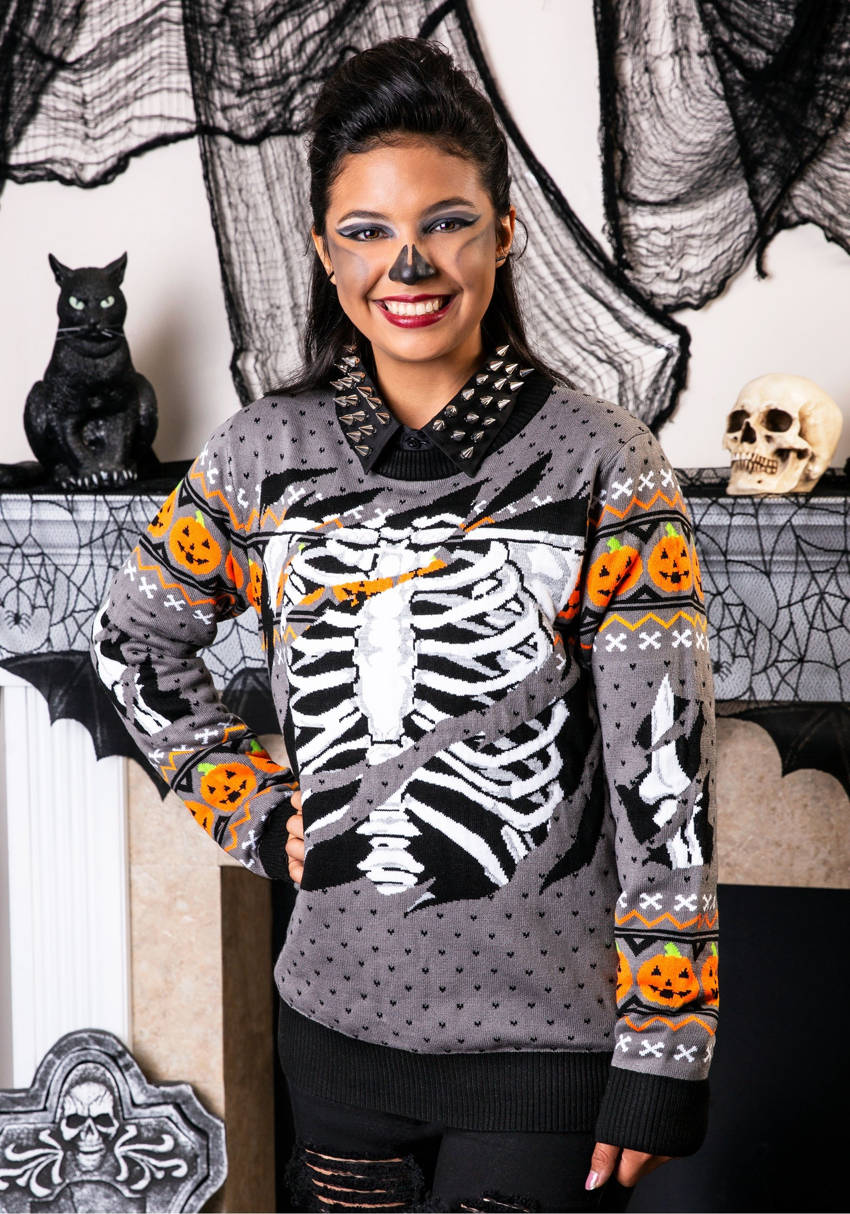 66dc1356097 Ripped Open Skeleton Adult Ugly Halloween Sweater Update1 Ma