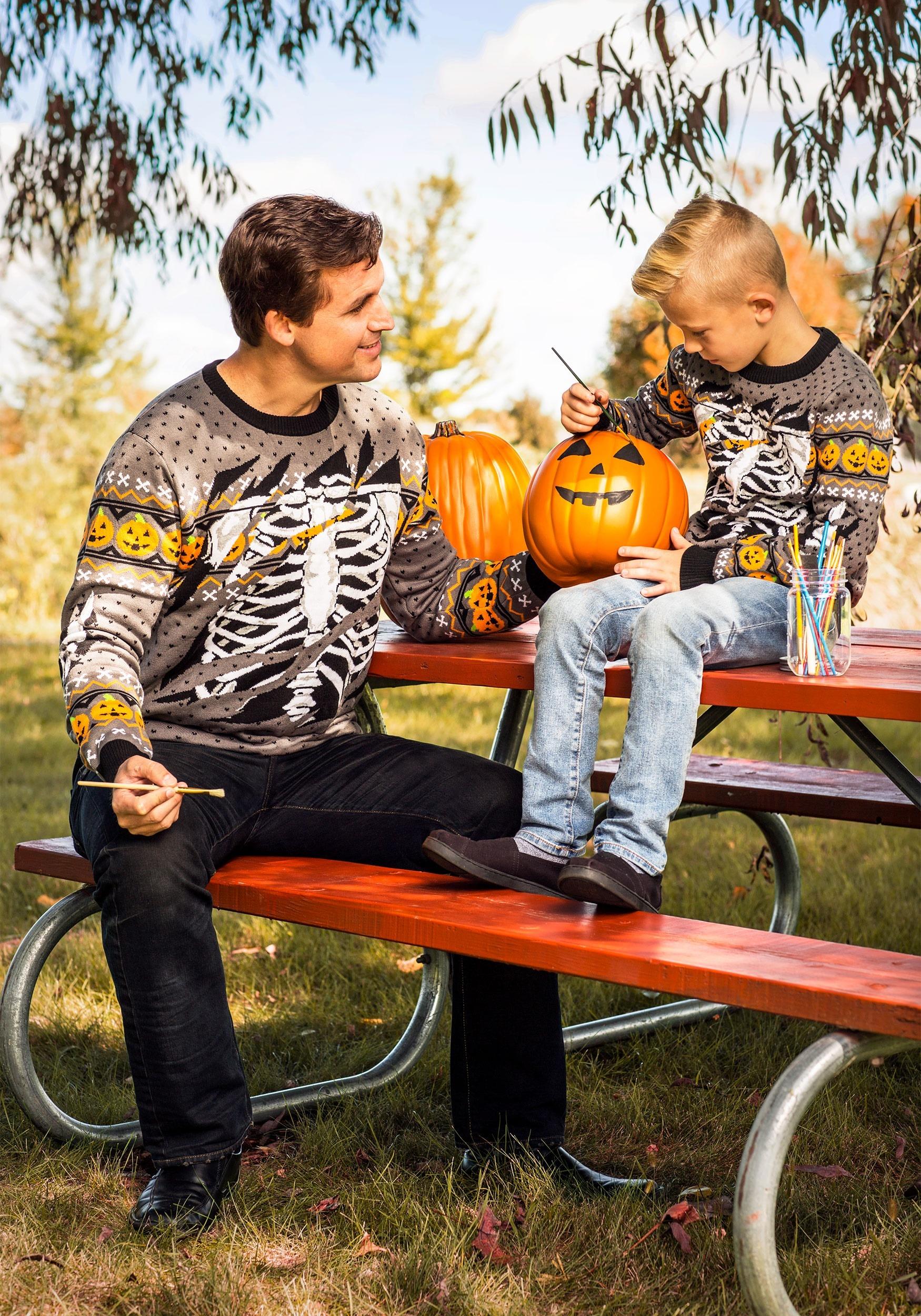 1939080f1 Child Ripped Open Skeleton Halloween Sweater