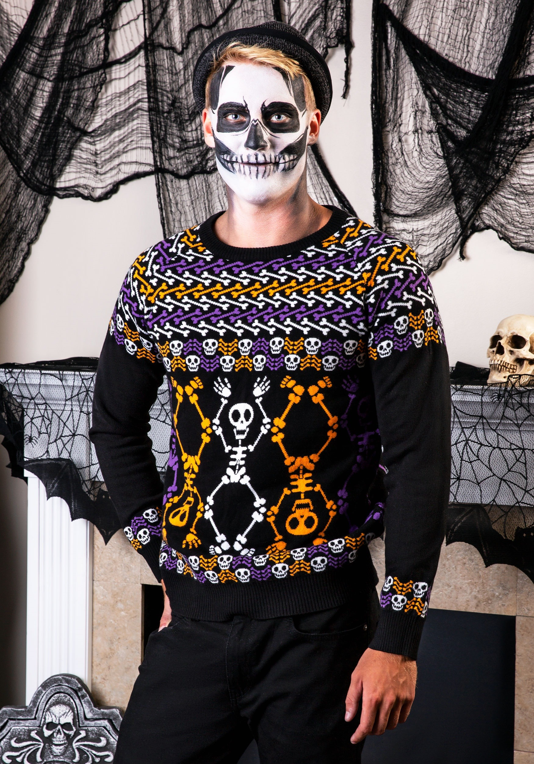 fdeda24a420 Day of the Dead Dancing Skeletons Halloween Sweater for Adults