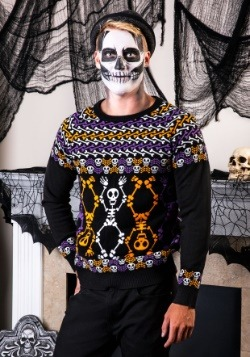 Day of the Dead Dancing Skeletons Ugly Halloween Sweater Upd