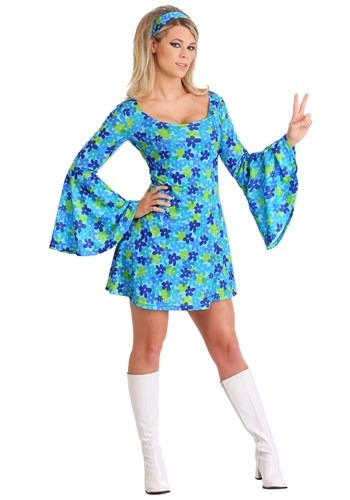70s Wild Flower Dress Costume Plus Women's1