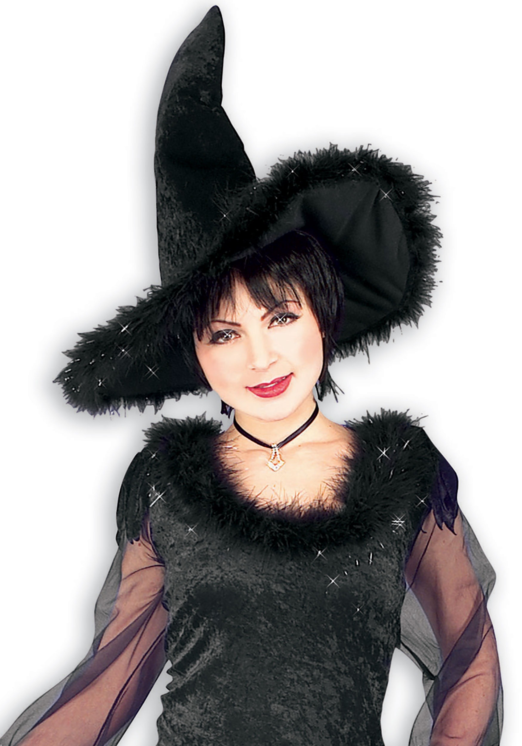 Velvet Witch Hat With Fur For Adults
