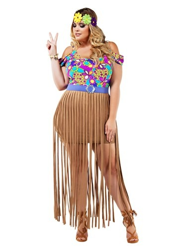 Image of Plus Size Hippy Costume for Women 1X 2X 3X