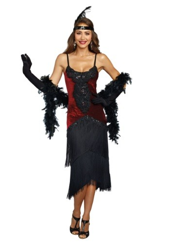 Black beaded Women's Vintage Flapper Dress Costume - plus size available with black fringe