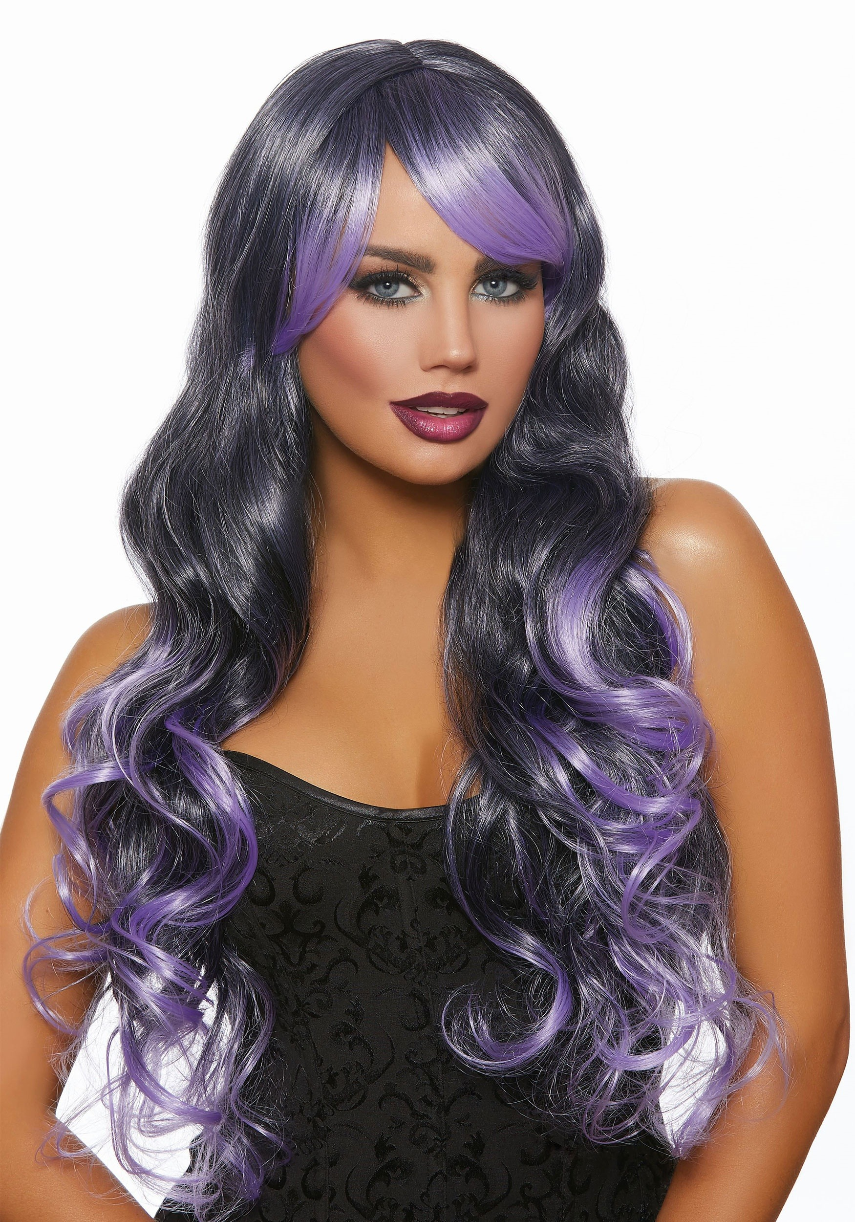 Women S Long Wavy Black Lavender Ombre Wig