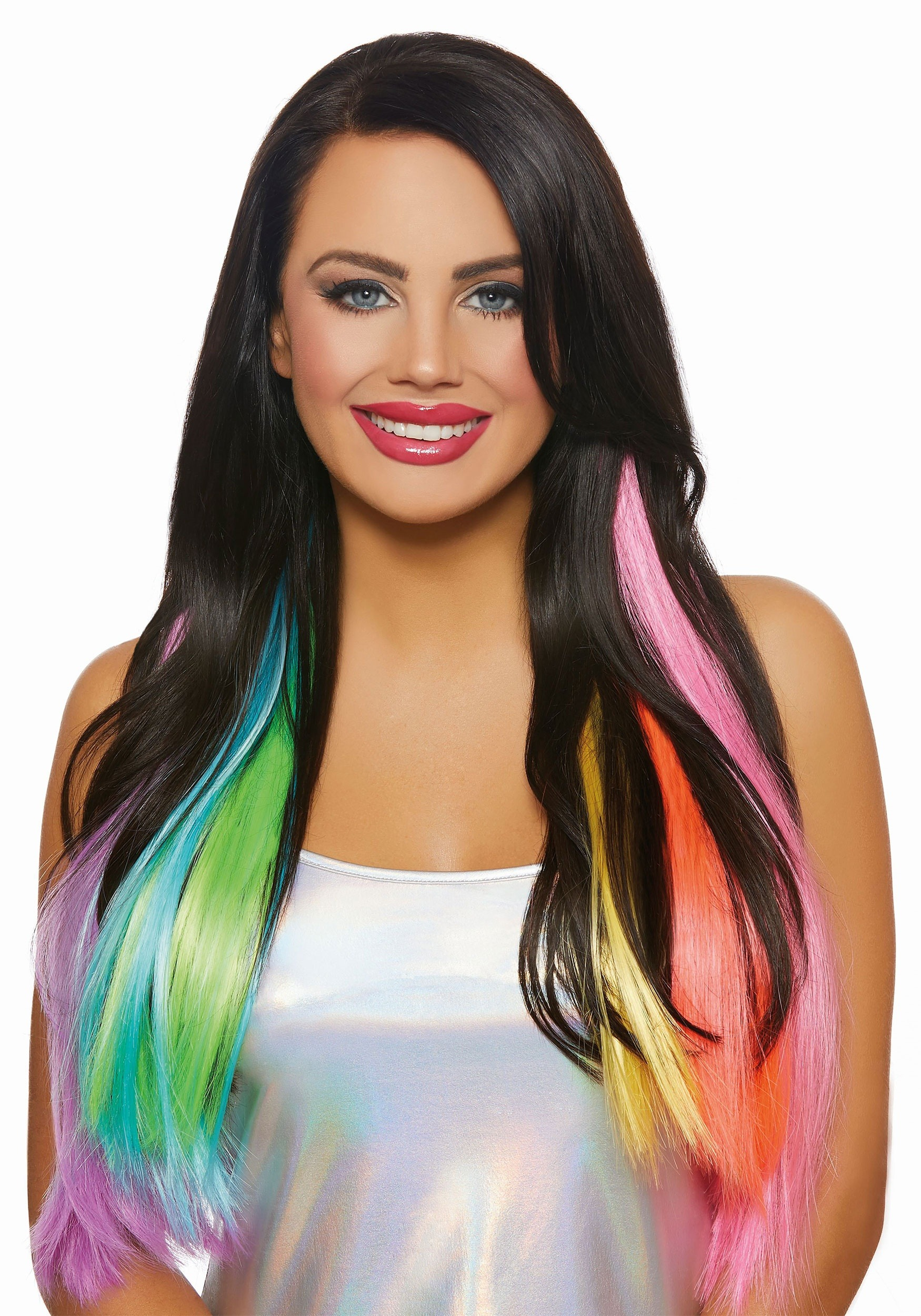 3 Piece Long Wavy Neon Rainbow Hair Extensions