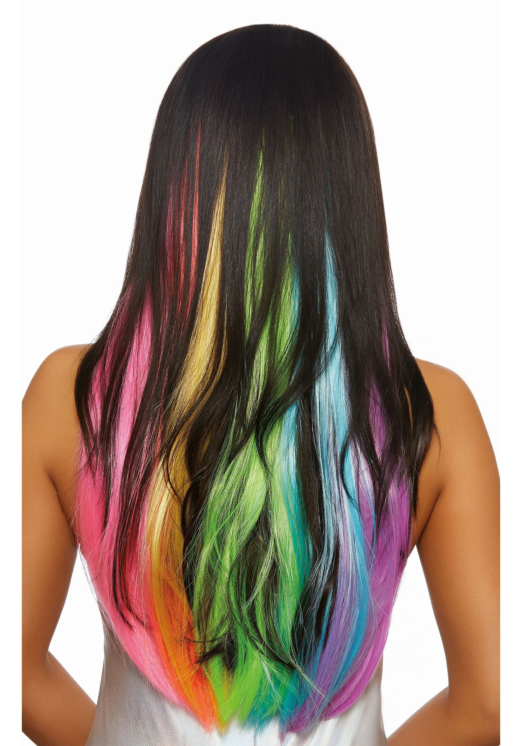 3-Piece Long Wavy Neon Rainbow Hair Extensions