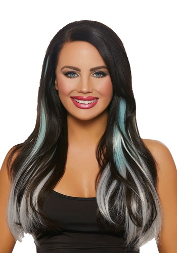 Long Straight 3-Piece Ombre Aqua/Grey Hair Extensions