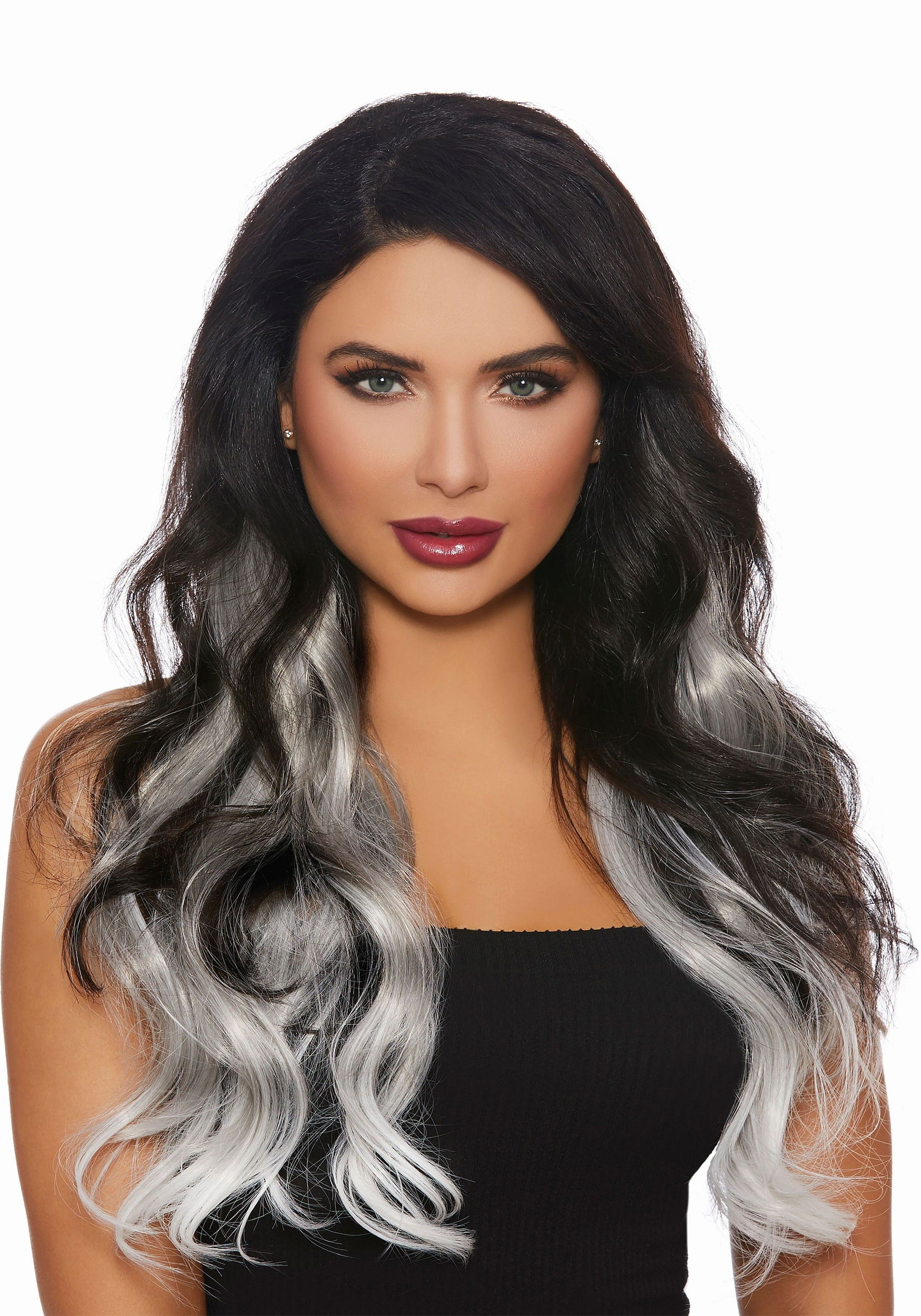 3-Piece Long Straight Ombre Grey/White Hair Extensions