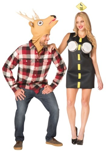 Click Here to buy Couples Costume - Deer in Headlights from HalloweenCostumes, CDN Funds