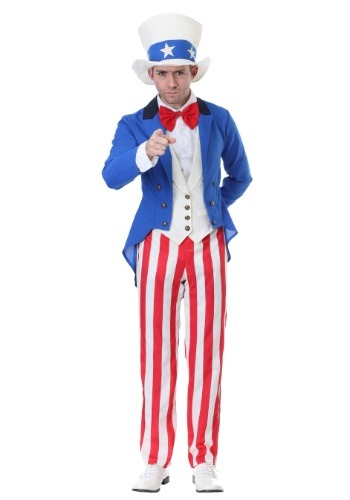 Click Here to buy Classic Plus American Uncle Sam Costume from HalloweenCostumes, CDN Funds