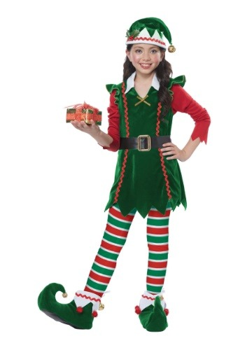 Click Here to buy Festive Elf Costume Kids from HalloweenCostumes, USA Funds & Shipping