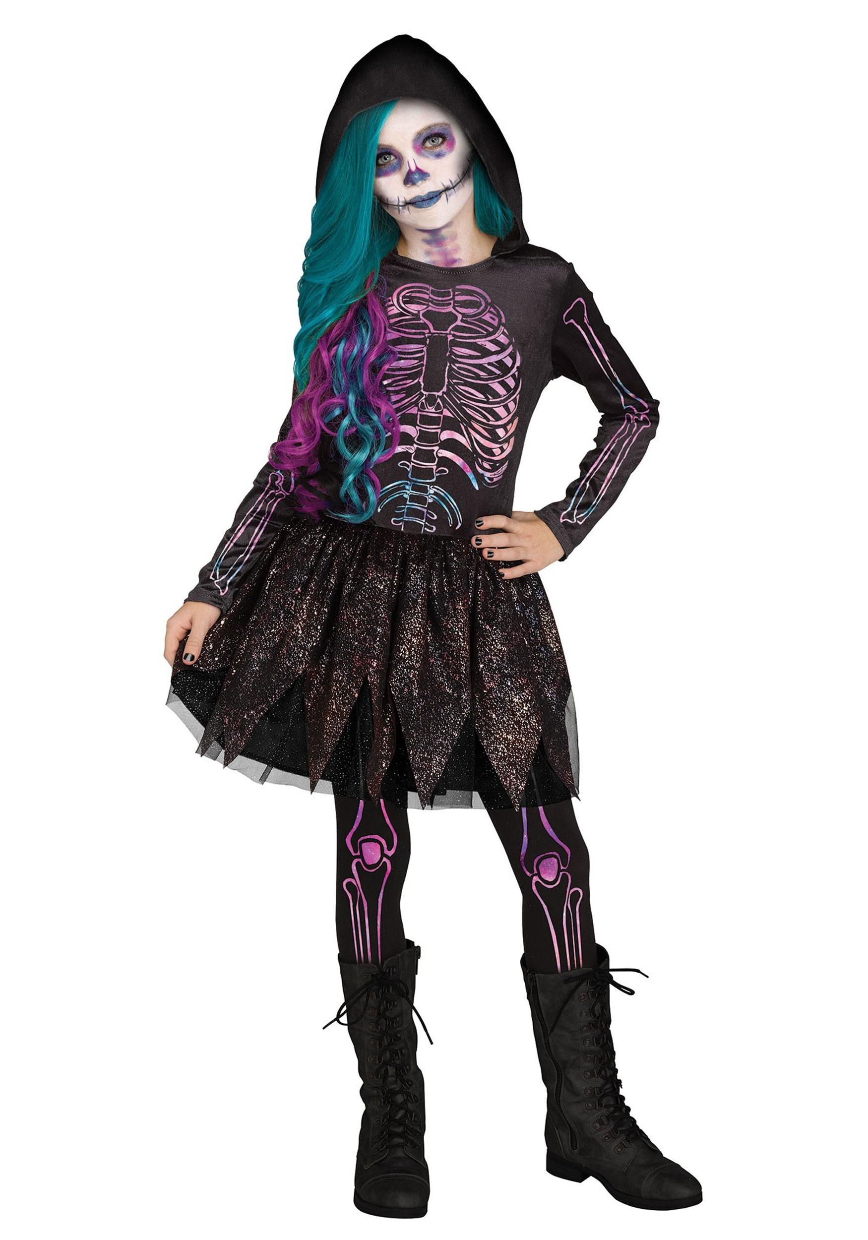Skeleton Outfit Halloween.Girl S Galaxy Skeleton Costume